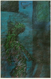 blue night 1, 1987, oil on canvas and mixed, 152x112cm