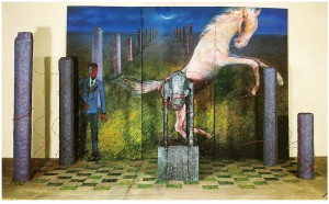 Blue Night 9- death of the white horse.  mixed media. variable size. 1988