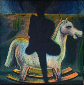 tragic people image on rocking horse, acrylic on canvas, 102x102cm, 1989