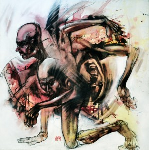 Haafiz Shahimi.Mengejar Jiwa I.Watercolor,Acrylic,Charcoal and Enamel Spray on Canvas.121cm x 121cm.2012