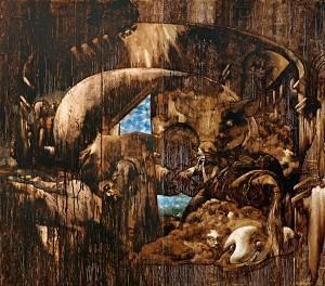 Hamir Soib Nafsu Nafsi Bitumen on Jute 244cm x 244cm 2008 02082016